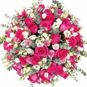 Букет 25 роз и эустома с упаковкой R562