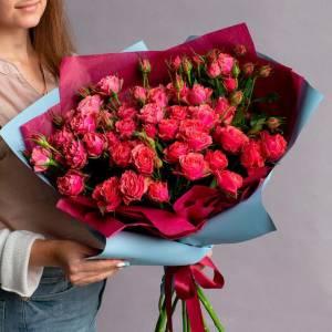 Букет 21 ветка красной пионовидной розы R992