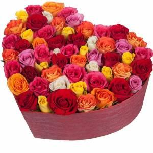сердце 51 роза микс R840