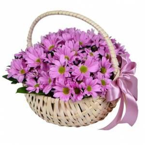 Корзина 9 веток розовой хризантемы R296